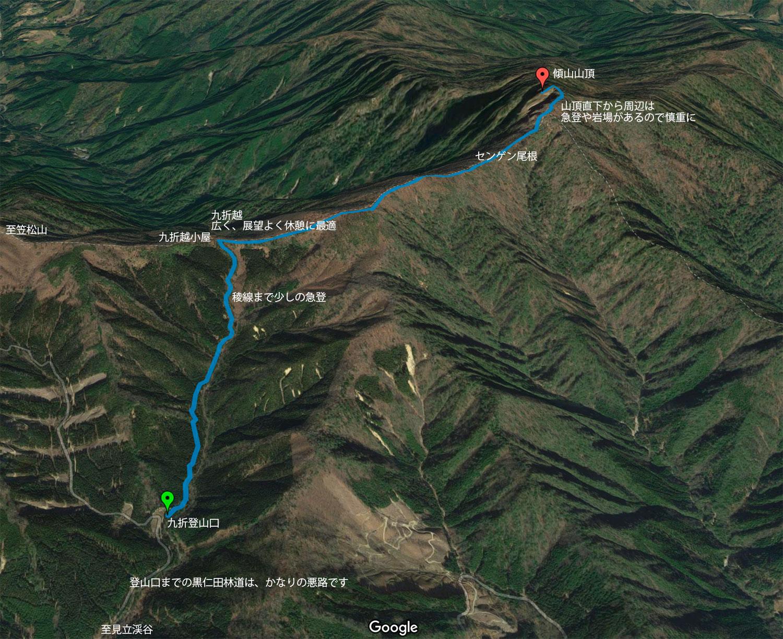 九折登山口から登る傾山のコース