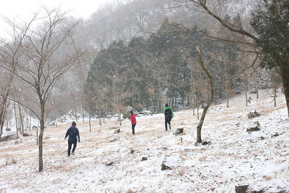 雪を楽しんで