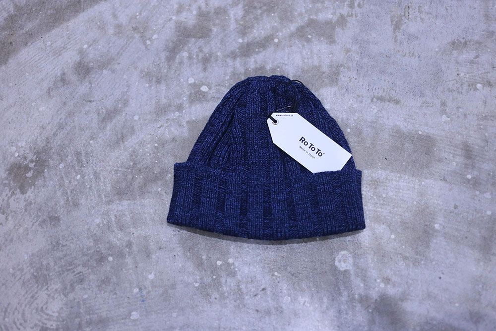 RoToTo INDIGO COTTON × WOOL BEANIE
