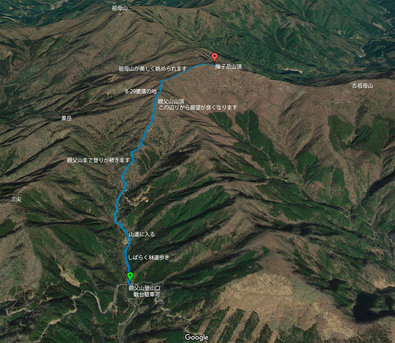 親父山-障子岳のコース