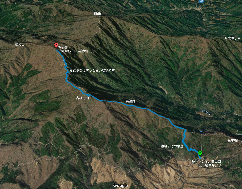 古祖母山を経由した障子岳へのコース