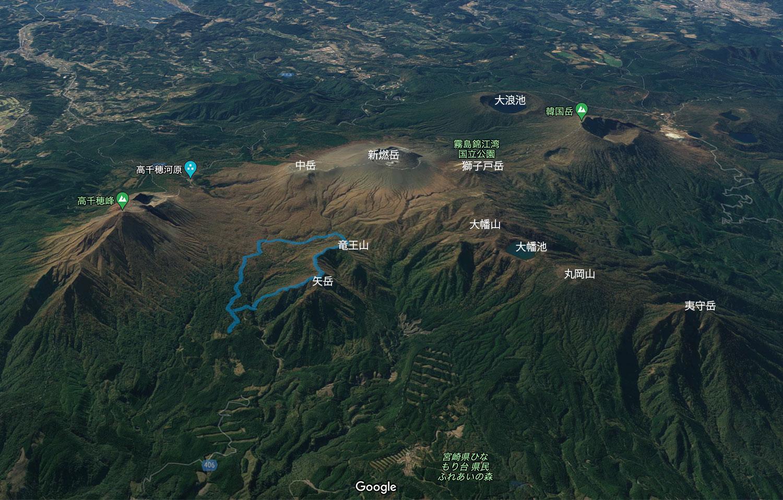 霧島連山と矢岳・竜王山の位置
